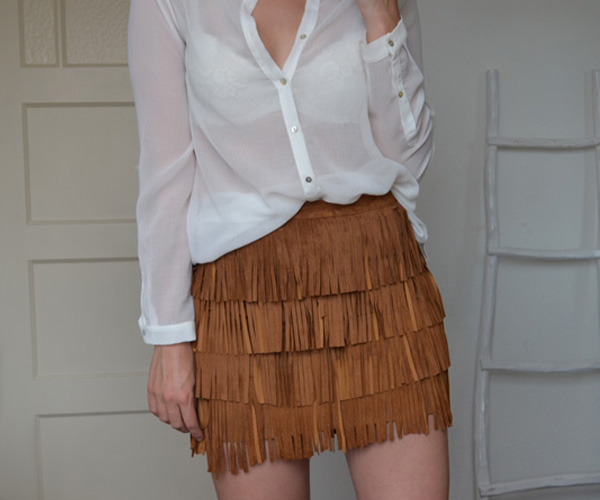 zara brown suede leather fringed skirt